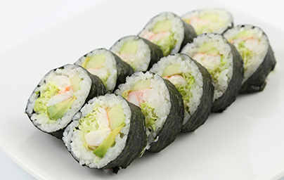 Lobster tempura, avocado, asparagus, inside out withmasago and sesame ...